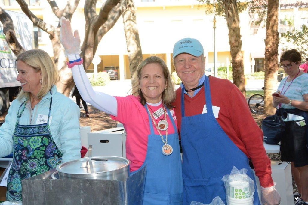 Event Volunteers serving soup