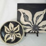 10F Faye Ormseth Pair of Black & White Blossoms (2)